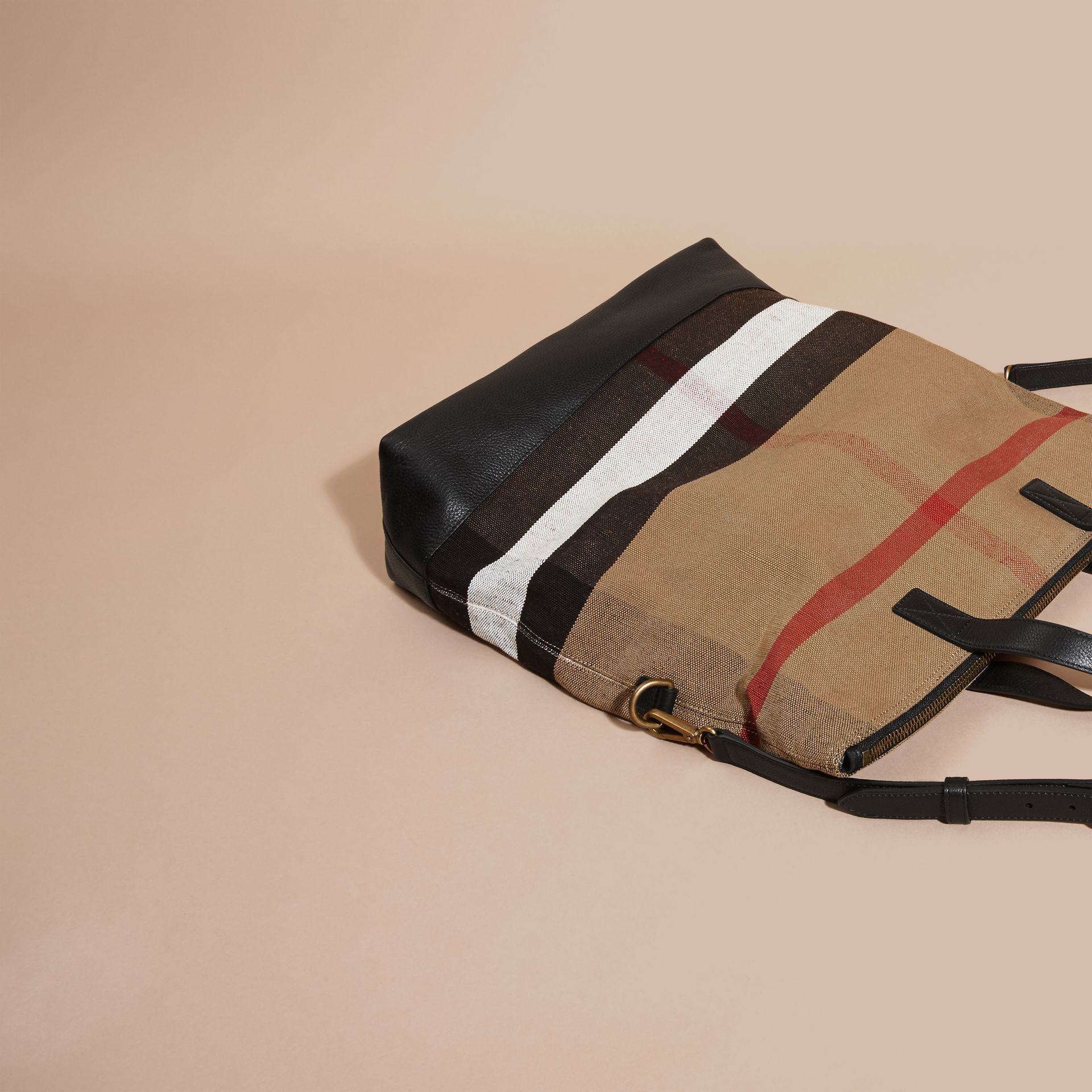 Black Canvas Check and Leather Folding Messenger Bag - gallery image 7