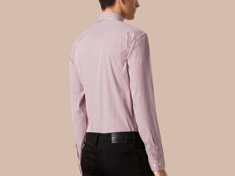 Deep burgundy Modern Fit Striped Stretch-cotton Shirt Deep Burgundy - cell image 1