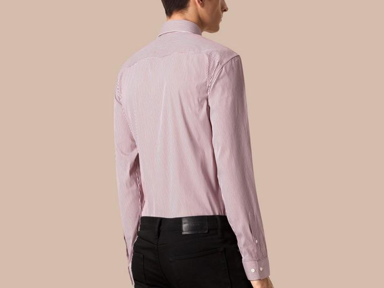 Borgoña intenso Camisa de corte moderno en algodón elástico de rayas Borgoña Intenso - cell image 1