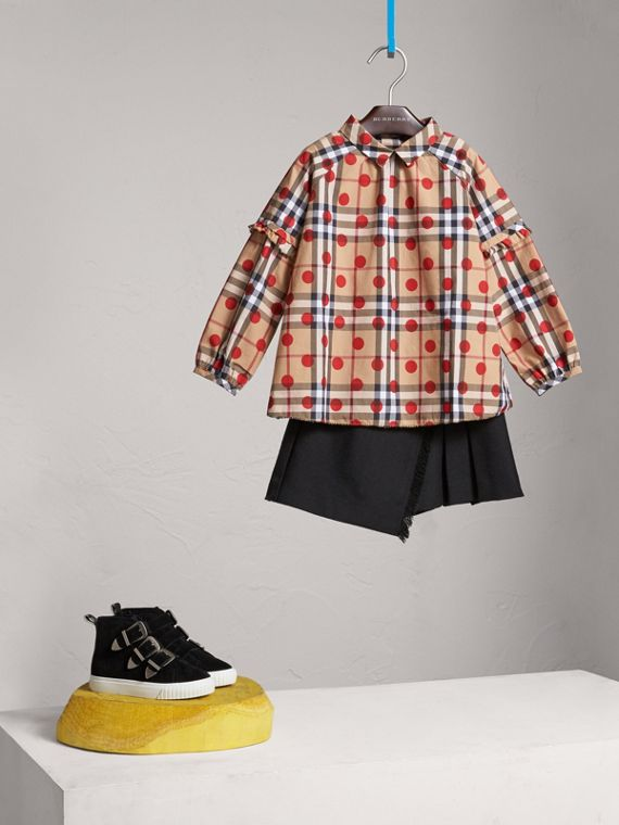 Ruffle Detail Polka-dot Check Cotton Top in Parade Red - Girl | Burberry - cell image 2