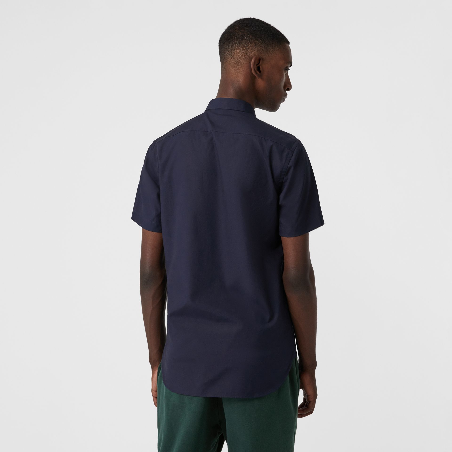 Short-sleeve Stretch Cotton Shirt in Navy - Men | Burberry - gallery image 2