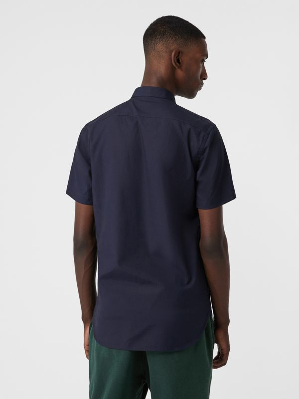 Short-sleeve Stretch Cotton Shirt in Navy - Men | Burberry United Kingdom - cell image 2