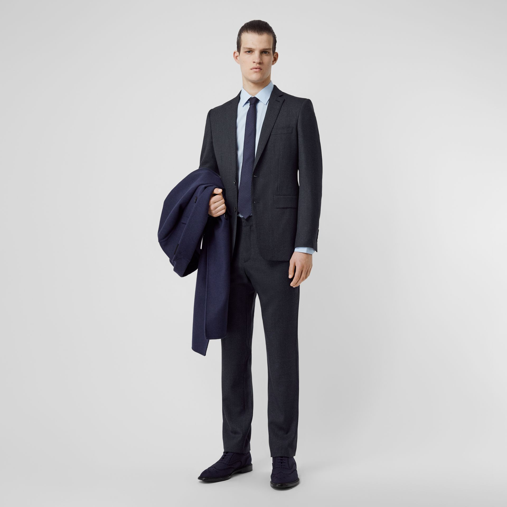 English Fit Sharkskin Wool Suit in Bright Navy Melange - Men | Burberry United Kingdom - gallery image 0