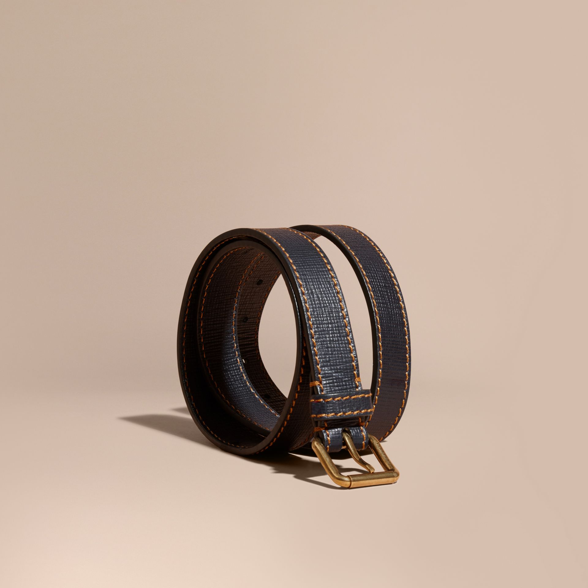 Dark navy Textured Leather Belt with Topstitch Detail Dark Navy - gallery image 1