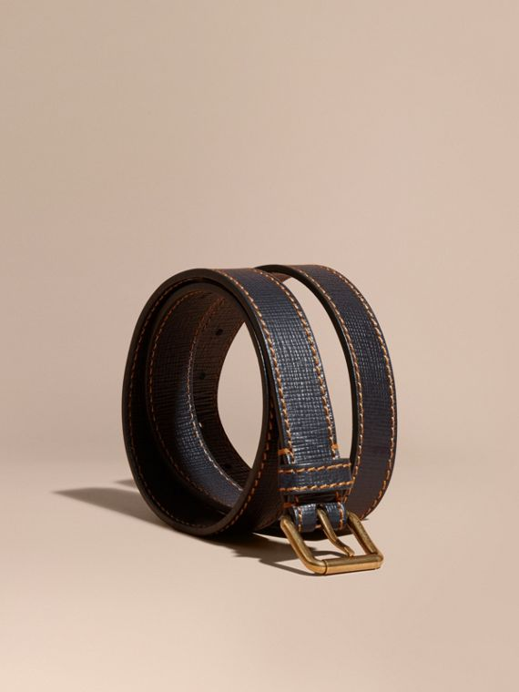 Textured Leather Belt with Topstitch Detail Dark Navy