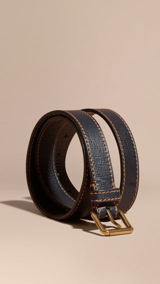 Textured Leather Belt with Topstitch Detail