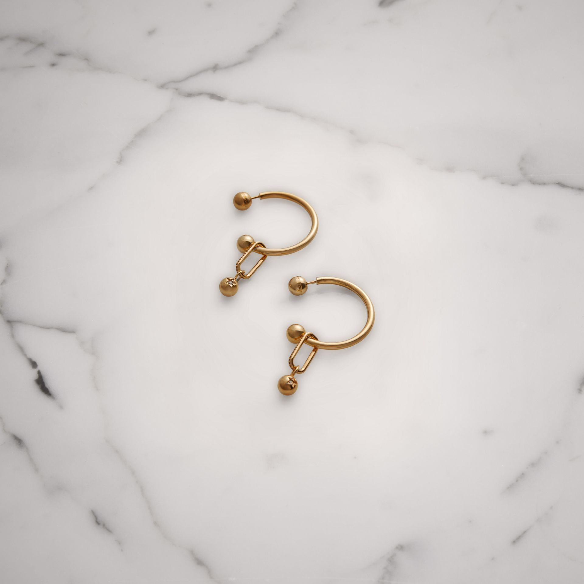 Crystal Charm Gold-plated Hoop Earrings in Light Gold/crystal - Women | Burberry United Kingdom - gallery image 0