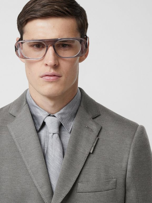 English Fit Cashmere Silk Jersey Tailored Jacket in Cloud Grey | Burberry United Kingdom - cell image 1