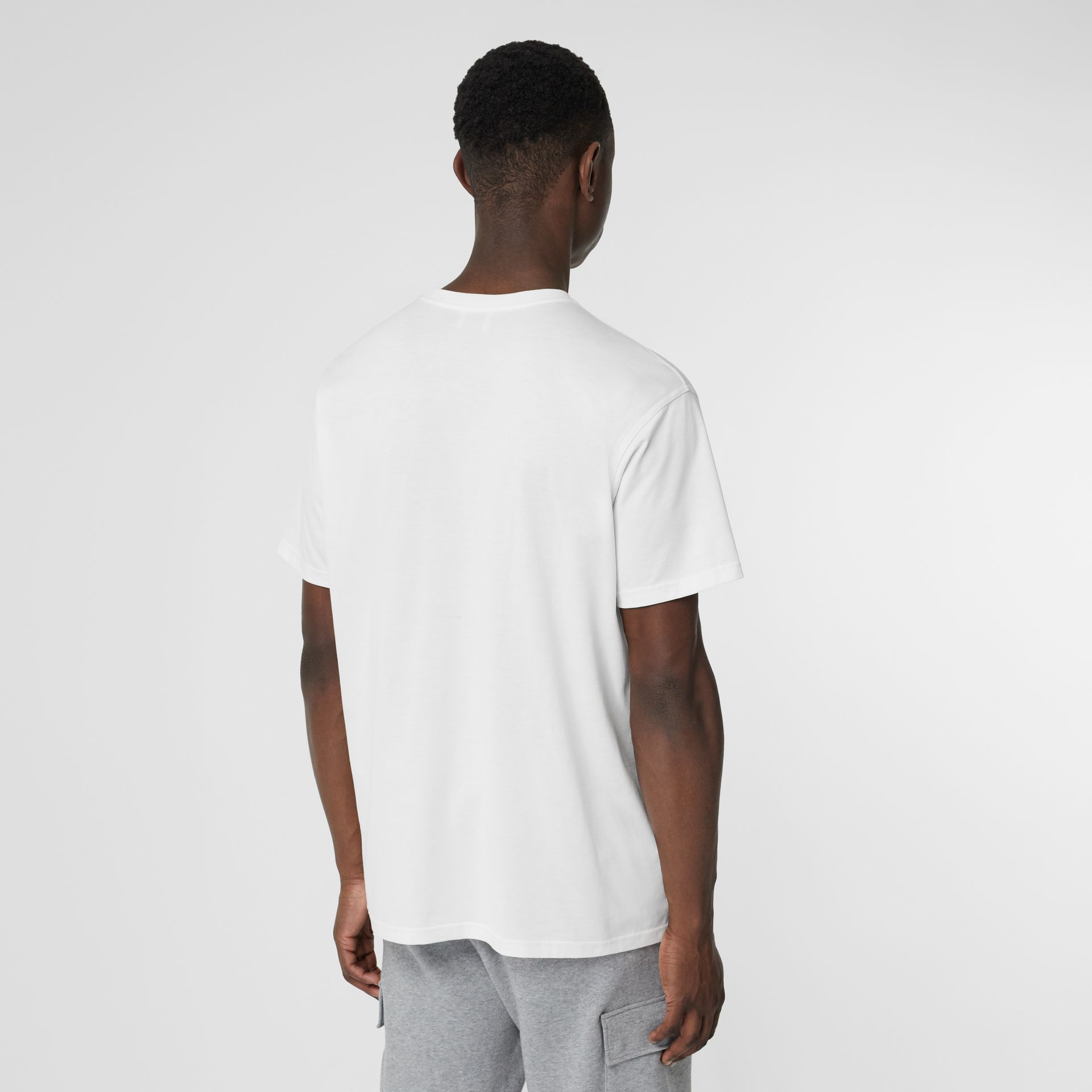 Monogram Motif Cotton Oversized T-shirt in White - Men | Burberry Singapore - gallery image 2