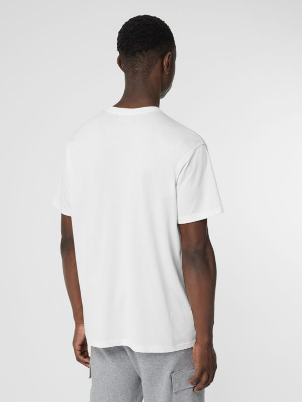 Monogram Motif Cotton Oversized T-shirt in White - Men | Burberry Singapore - cell image 2