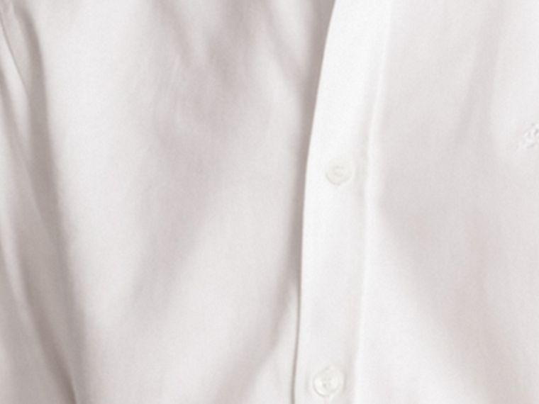 White Oxford Cotton Shirt with Regimental Cuff Detail White - cell image 1