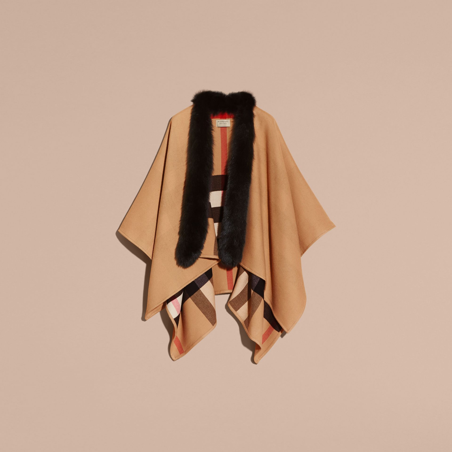 Check Merino Wool Poncho with Fox Fur Trim in Camel - Women | Burberry - gallery image 4