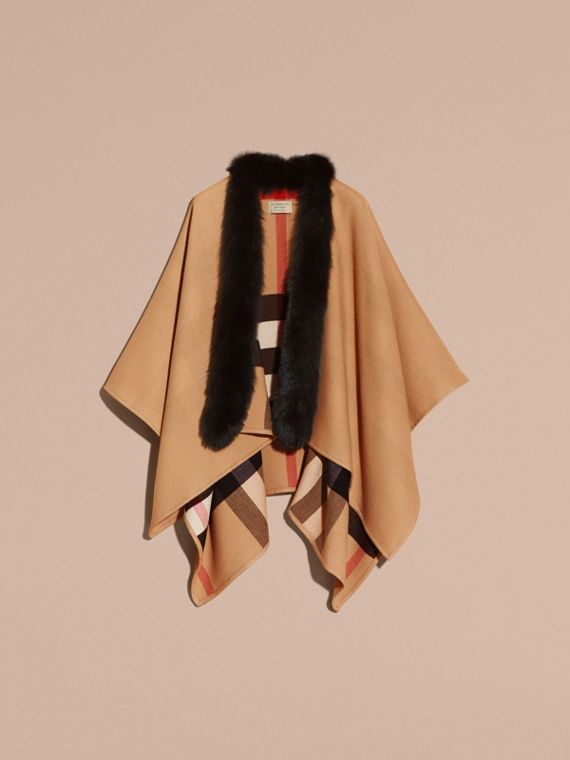 Check Merino Wool Poncho with Fox Fur Trim in Camel - Women | Burberry - cell image 3