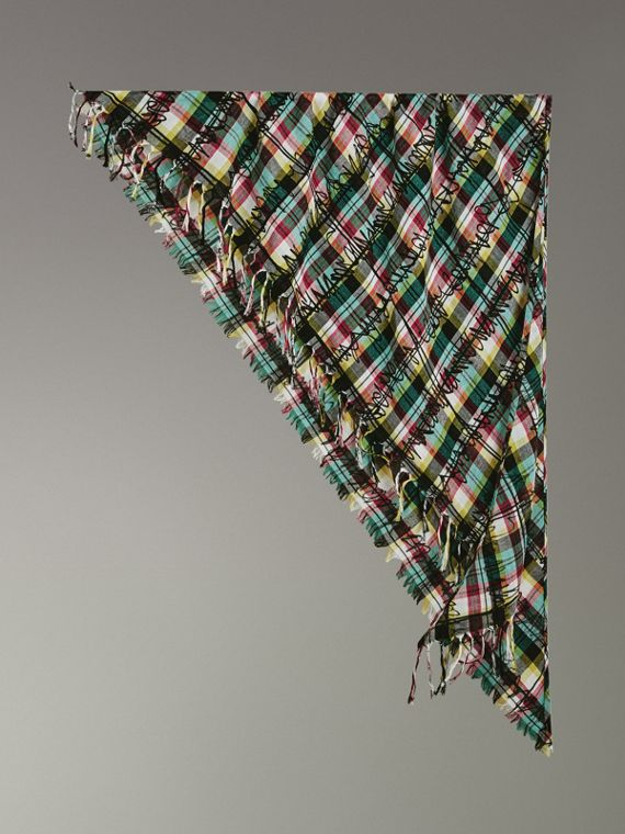 The Burberry Bandana in Scribble Check Cotton Silk in Pine Green