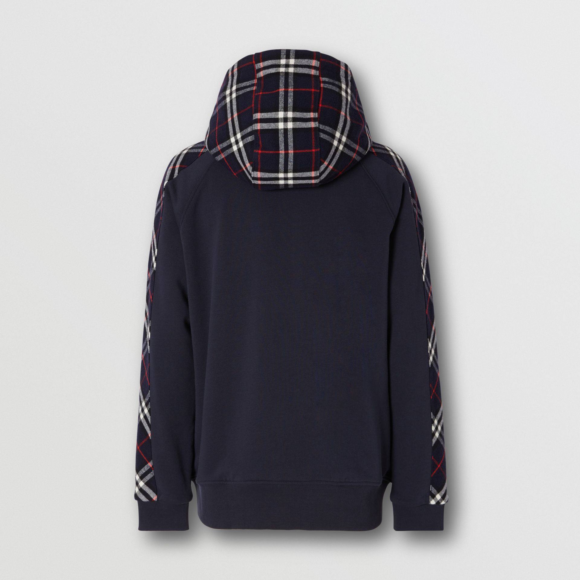 Vintage Check Panel Cotton Hooded Top in Navy - Men | Burberry United Kingdom - gallery image 5