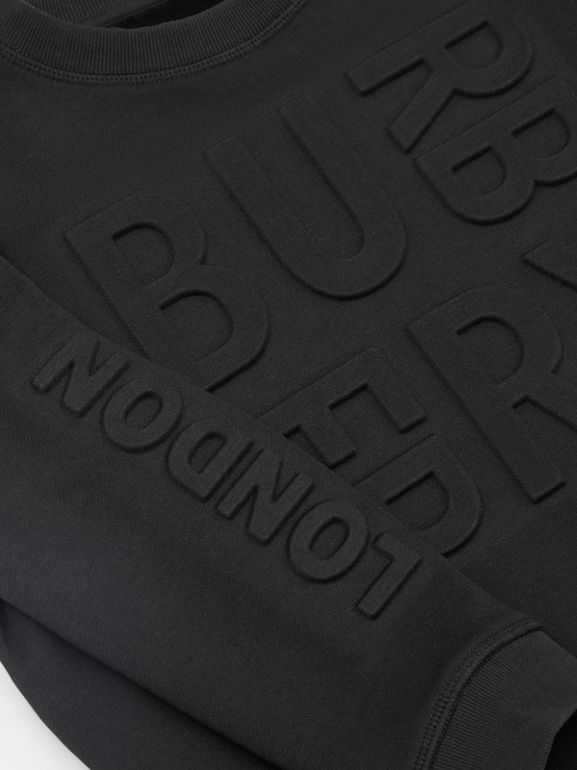 Embossed Logo Cotton Sweatshirt in Black | Burberry - cell image 1