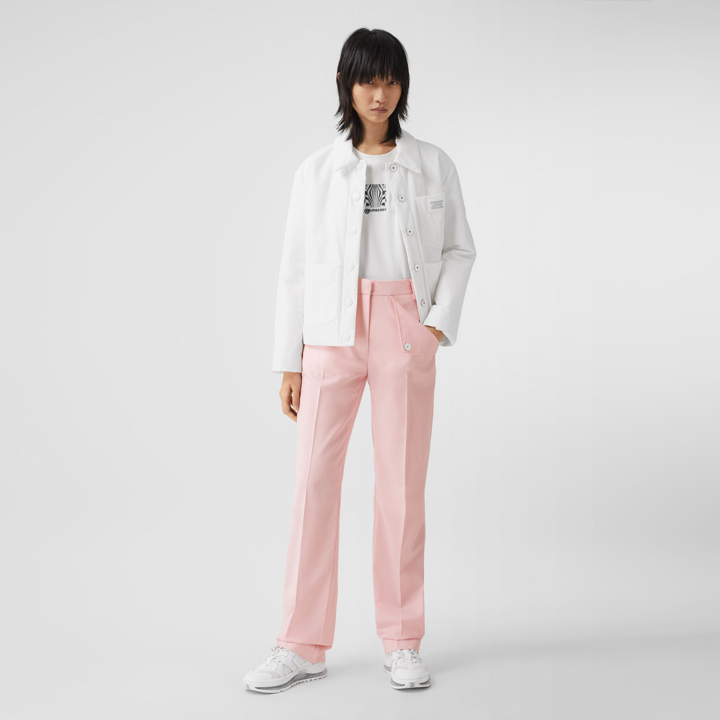 Pocket Detail Tumbled Wool Tailored Trousers in Soft Pink - Women | Burberry - 1