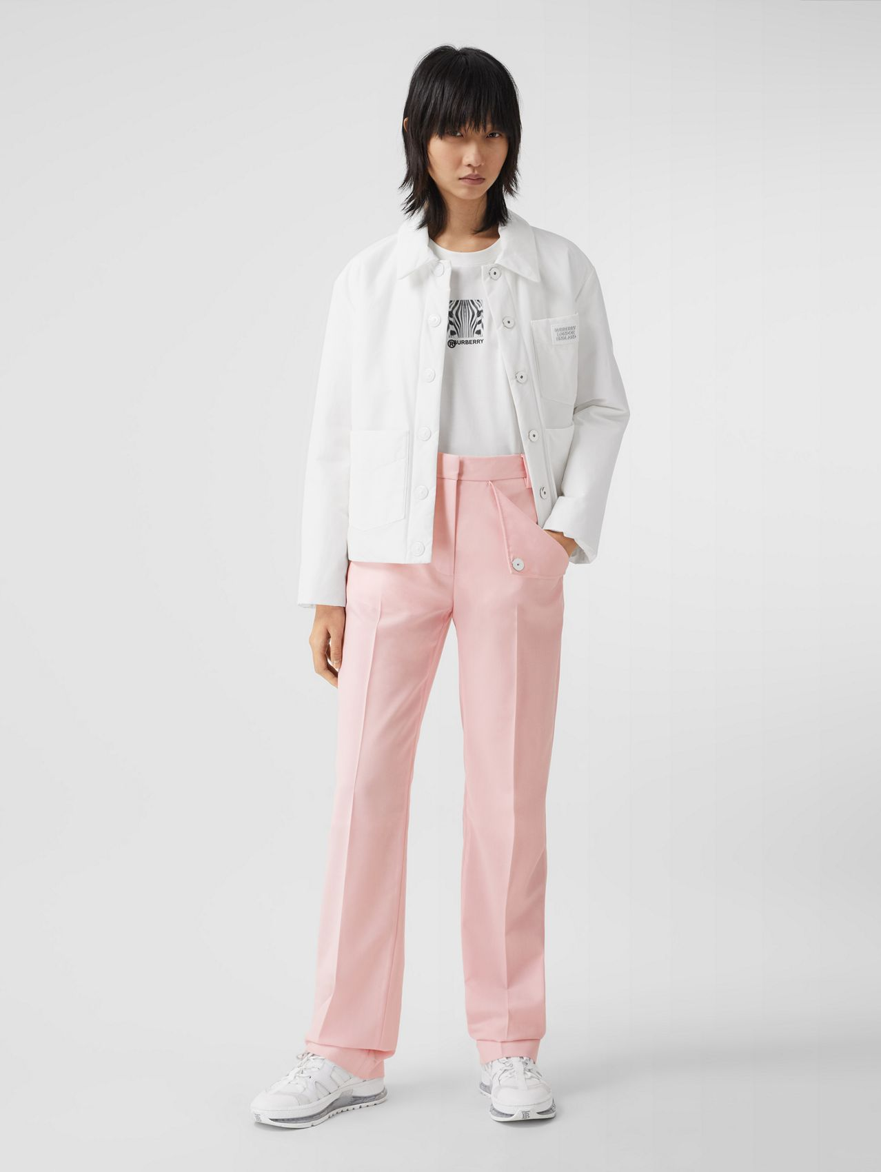 Pocket Detail Tumbled Wool Tailored Trousers (Soft Pink)
