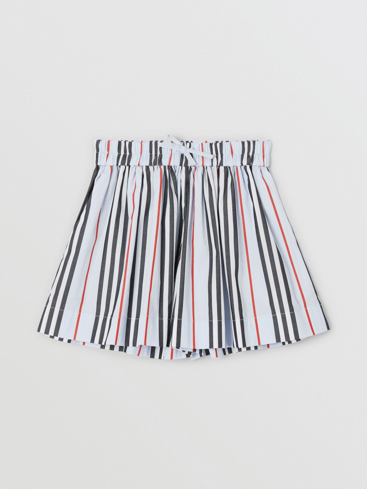 Icon Stripe Cotton Poplin Shorts in Pale Blue