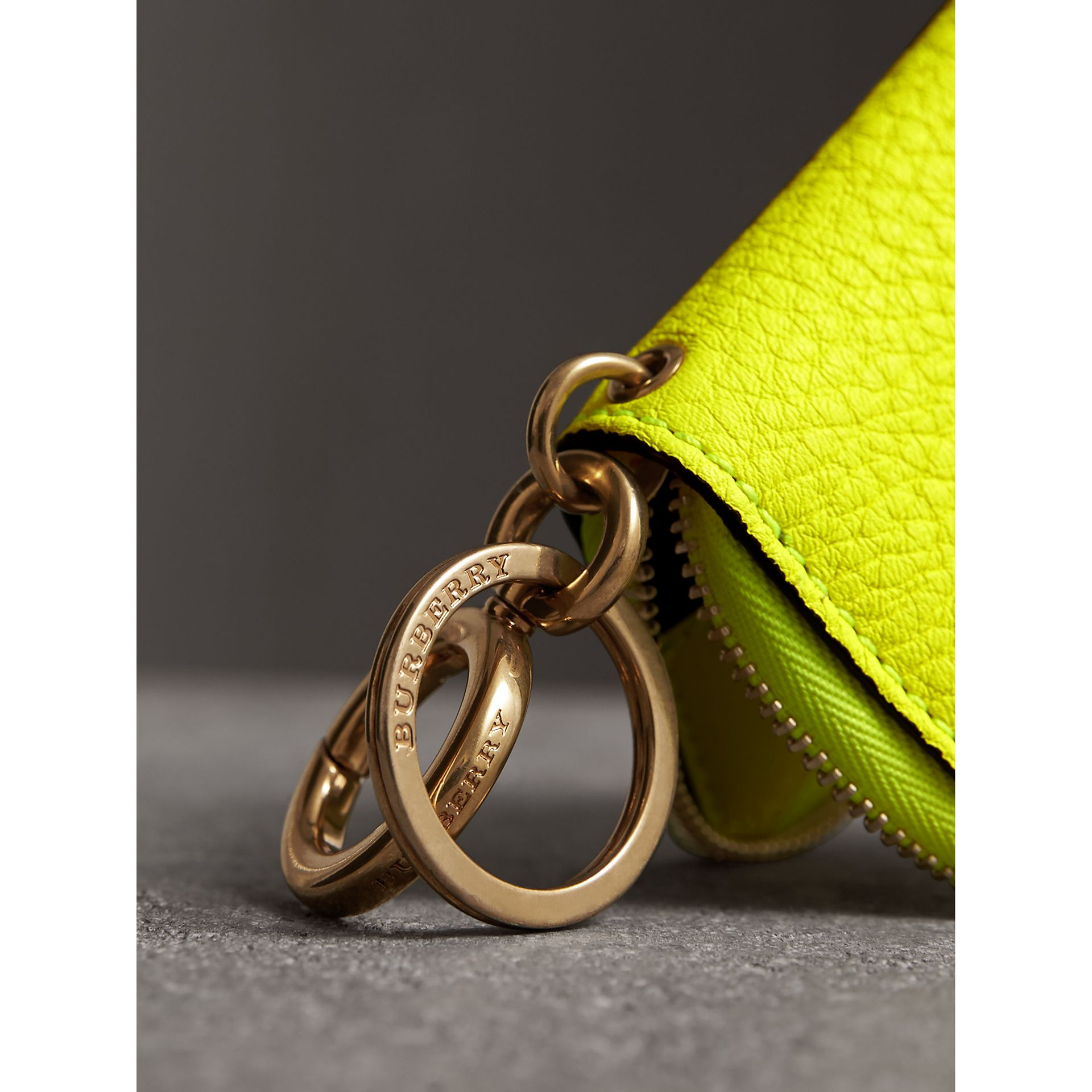 Embossed Leather Notebook Charm in Bright Yellow | Burberry Australia - gallery image 1