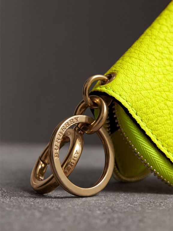 Embossed Leather Notebook Charm in Bright Yellow | Burberry - cell image 1