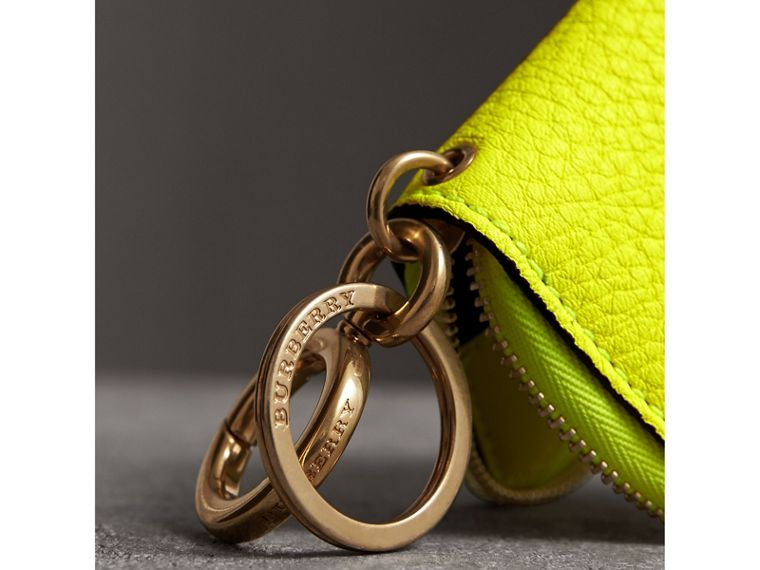 Embossed Leather Notebook Charm in Bright Yellow | Burberry United States - cell image 1