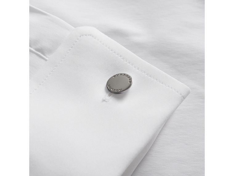 Modern Fit Double-cuff Stretch-cotton Shirt in White - Men | Burberry United Kingdom - cell image 1