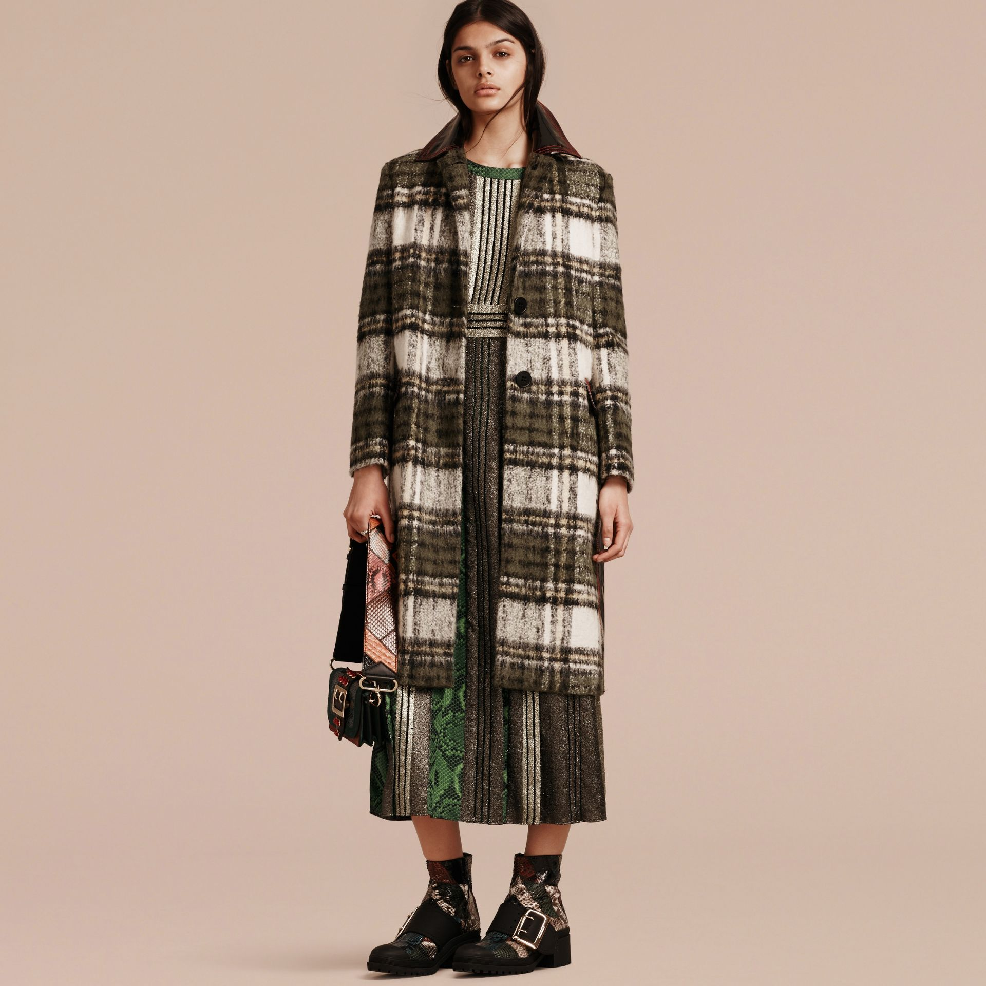 Forest green Brushed Tartan Wool Mohair Coat - gallery image 7