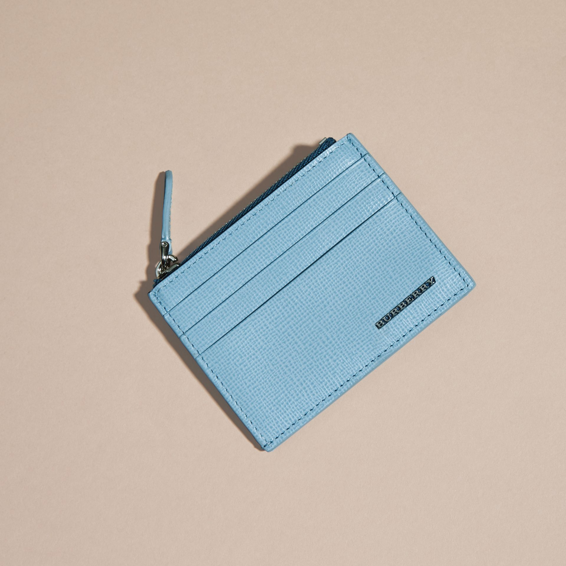 London Leather Zip-top Card Case Powder Blue - gallery image 4