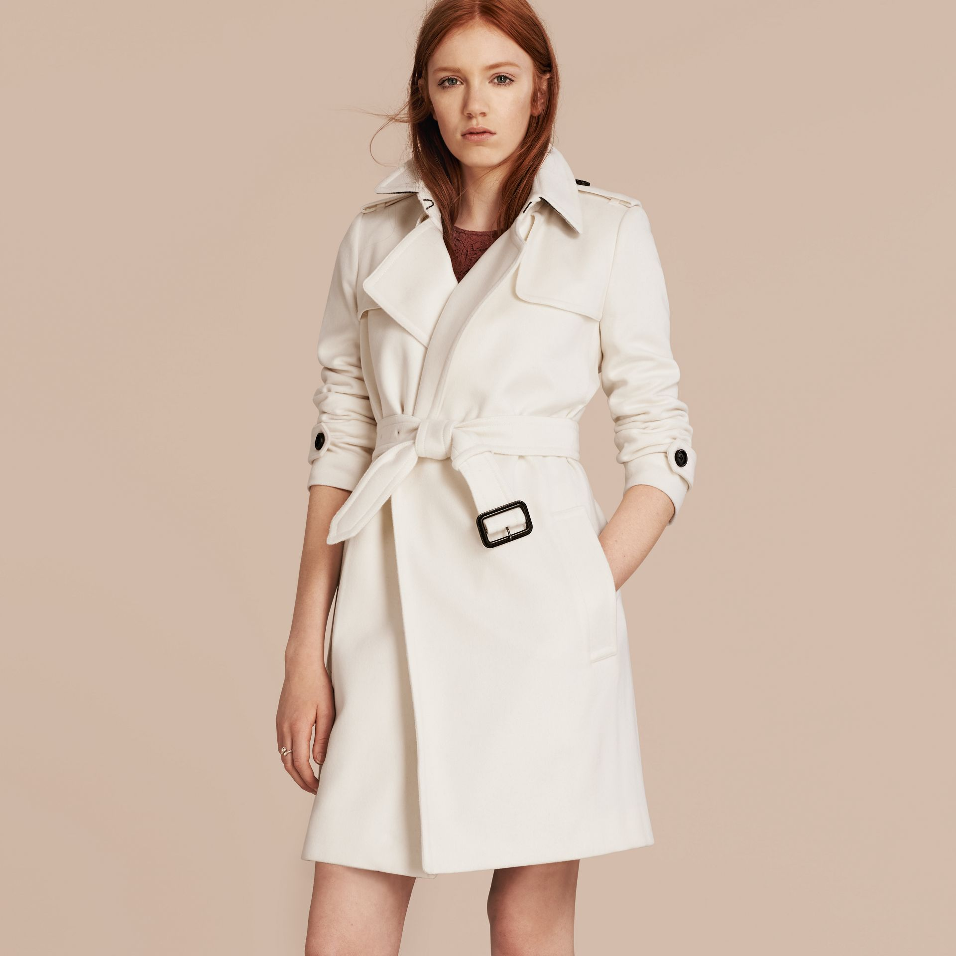 White Cashmere Wrap Trench Coat White - gallery image 7