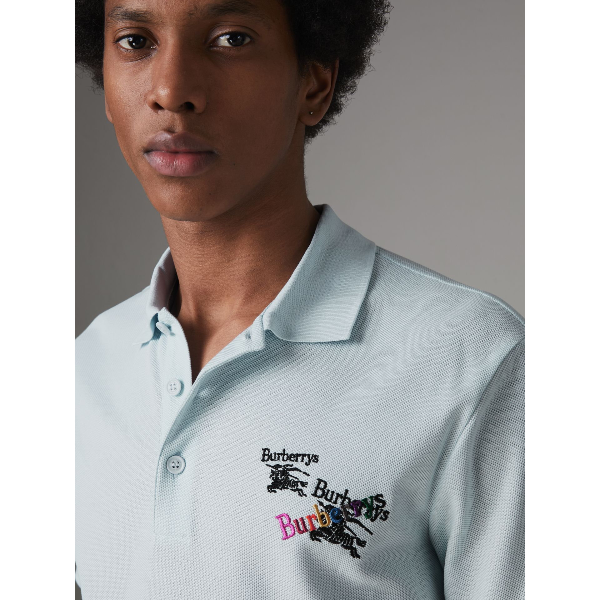Triple Archive Logo Cotton Piqué Polo Shirt in Pearl Blue - Men | Burberry Canada - gallery image 1