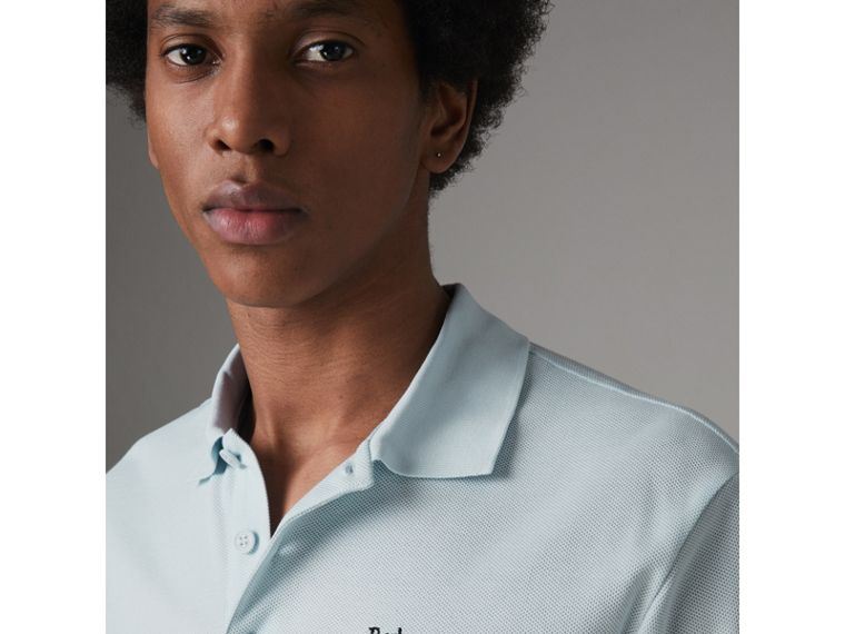 Triple Archive Logo Cotton Piqué Polo Shirt in Pearl Blue - Men | Burberry - cell image 1