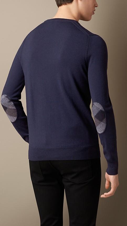 Navy Check Detail Merino Wool Sweater - Image 2
