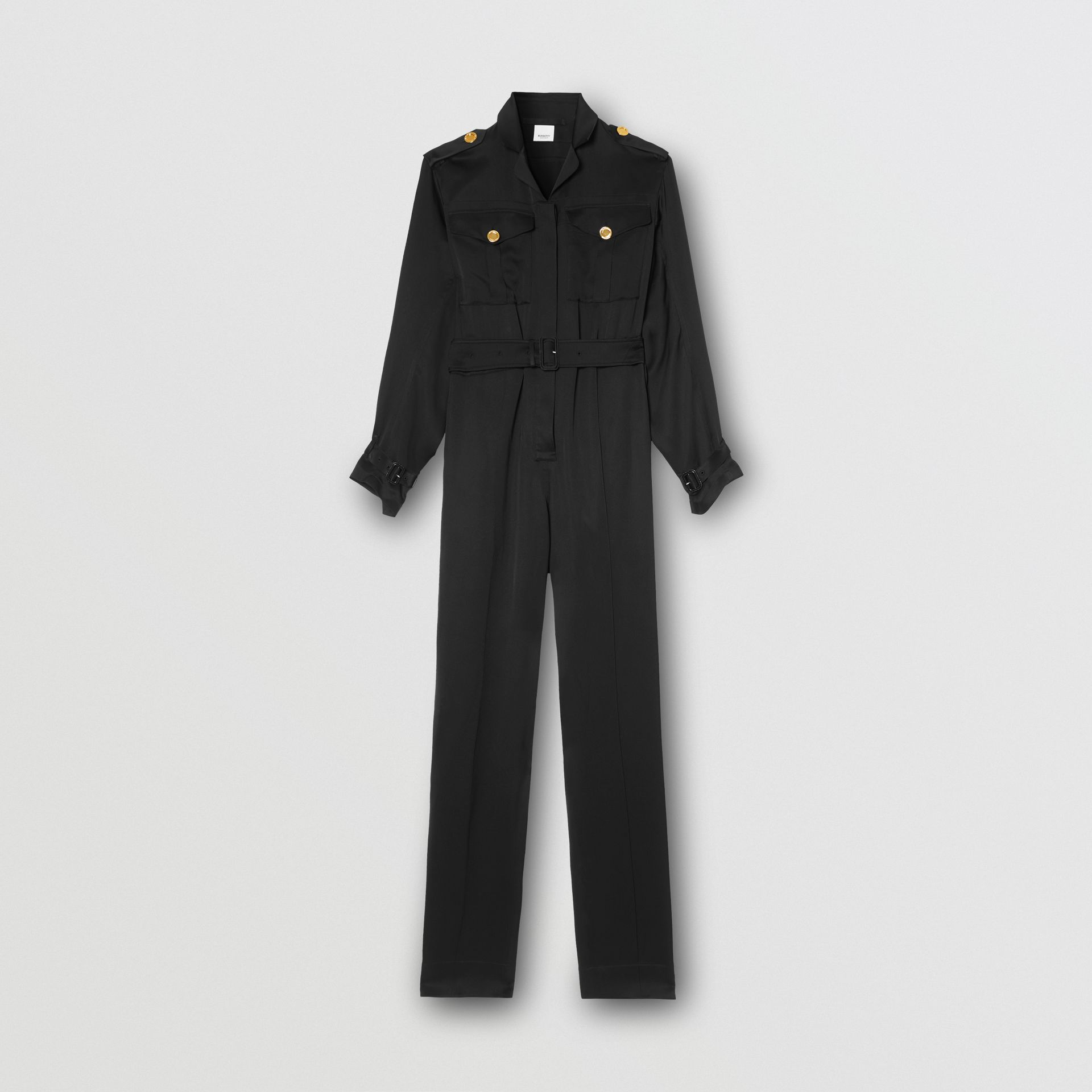 Silk Satin Jumpsuit in Black - Women | Burberry - gallery image 3