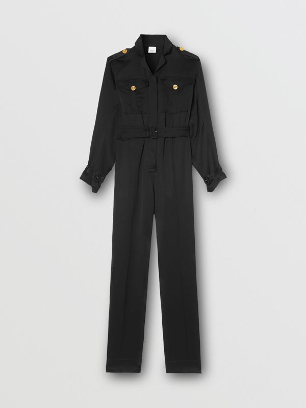 Silk Satin Jumpsuit in Black - Women | Burberry - cell image 3