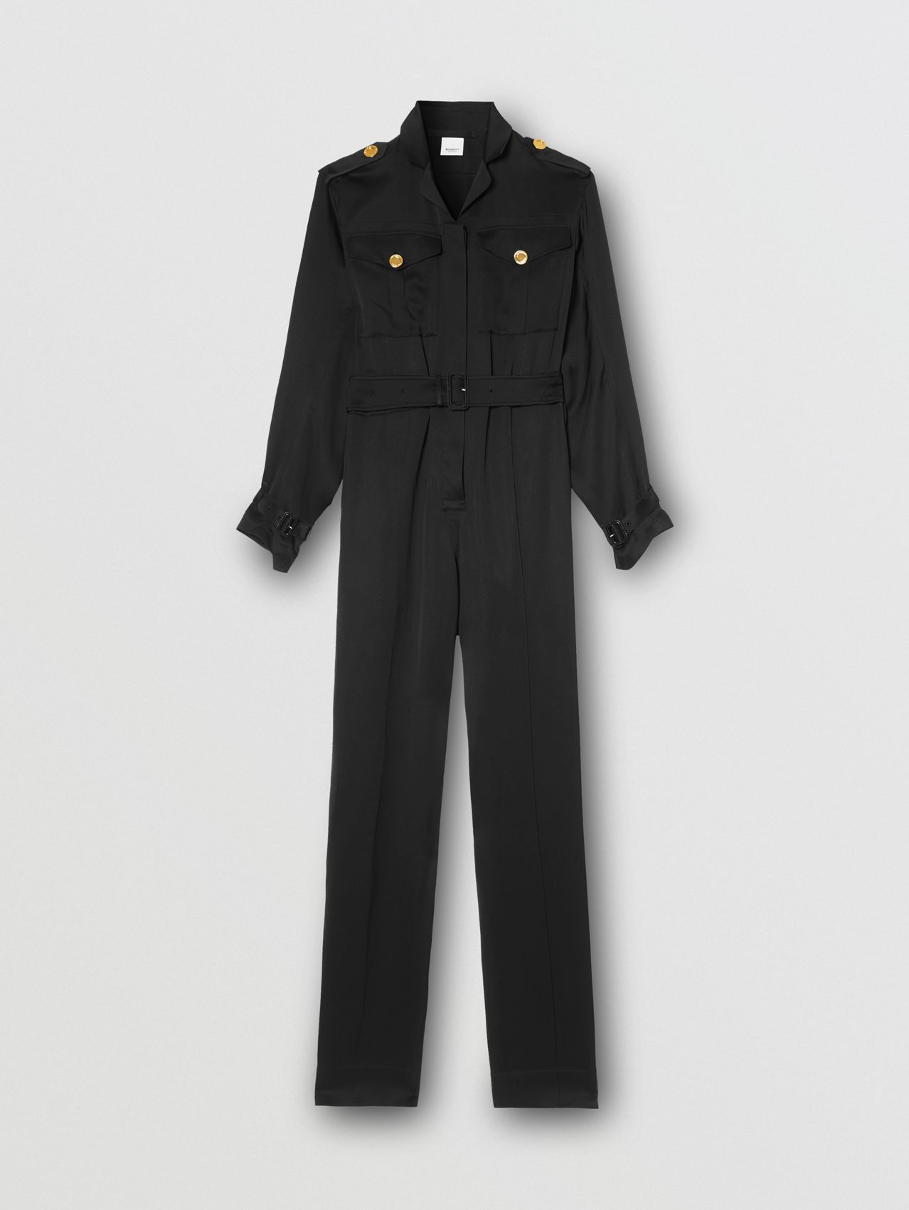 Silk Satin Jumpsuit in Black