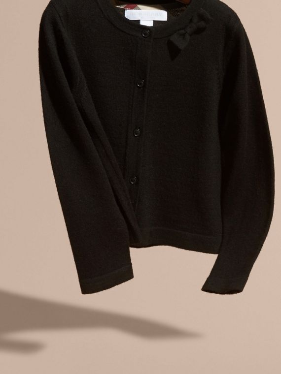 Black Lightweight Merino Wool Cardigan Black - cell image 2