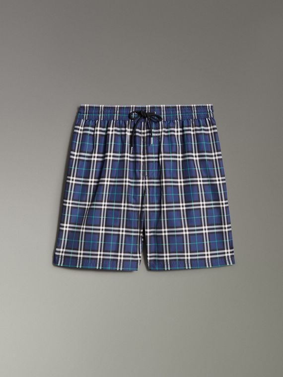 Vintage Check Drawcord Swim Shorts in Canvas Blue