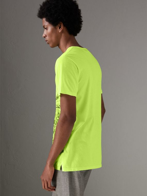 Doodle Print Cotton T-shirt in Bright Lemon - Men | Burberry - cell image 2