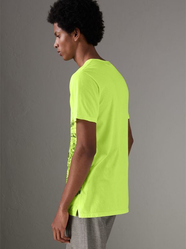 Doodle Print Cotton T-shirt in Bright Lemon - Men | Burberry United Kingdom - cell image 2