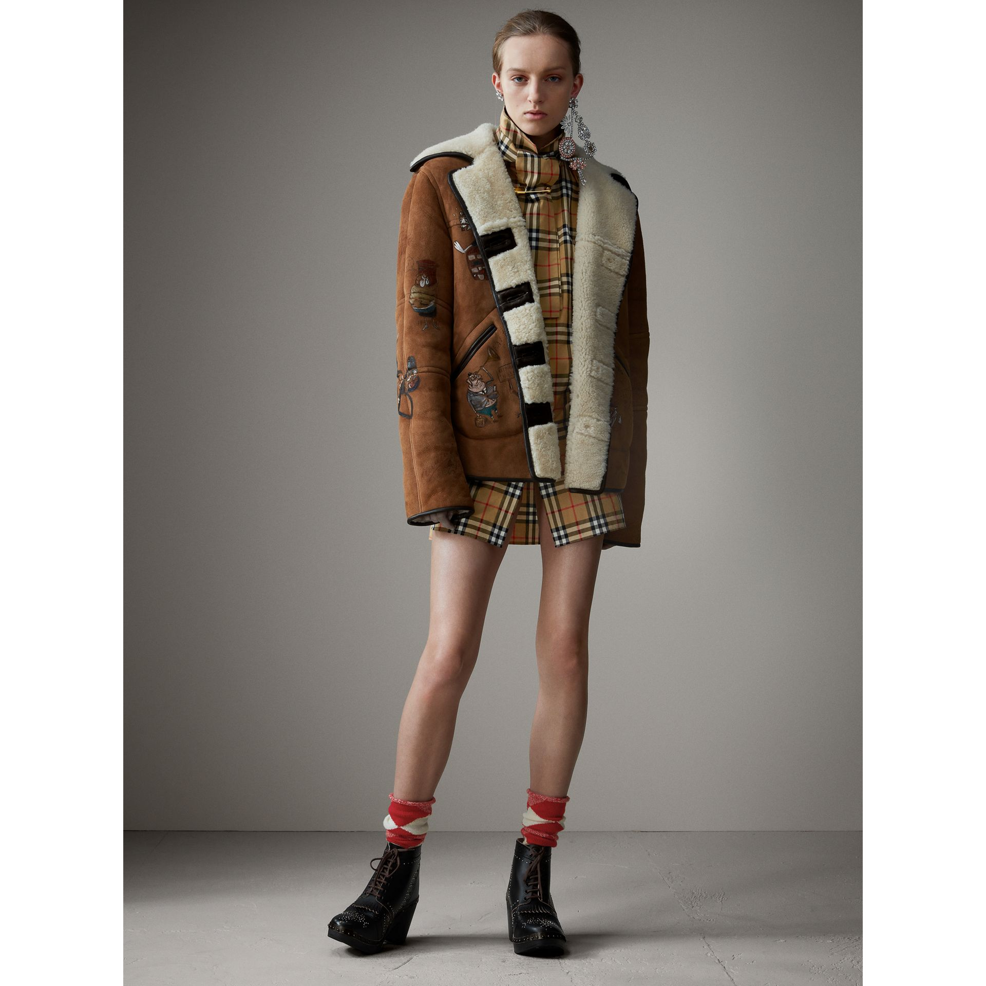 Sketch Print Shearling Jacket in Caramel - Women   Burberry Singapore - gallery image 7
