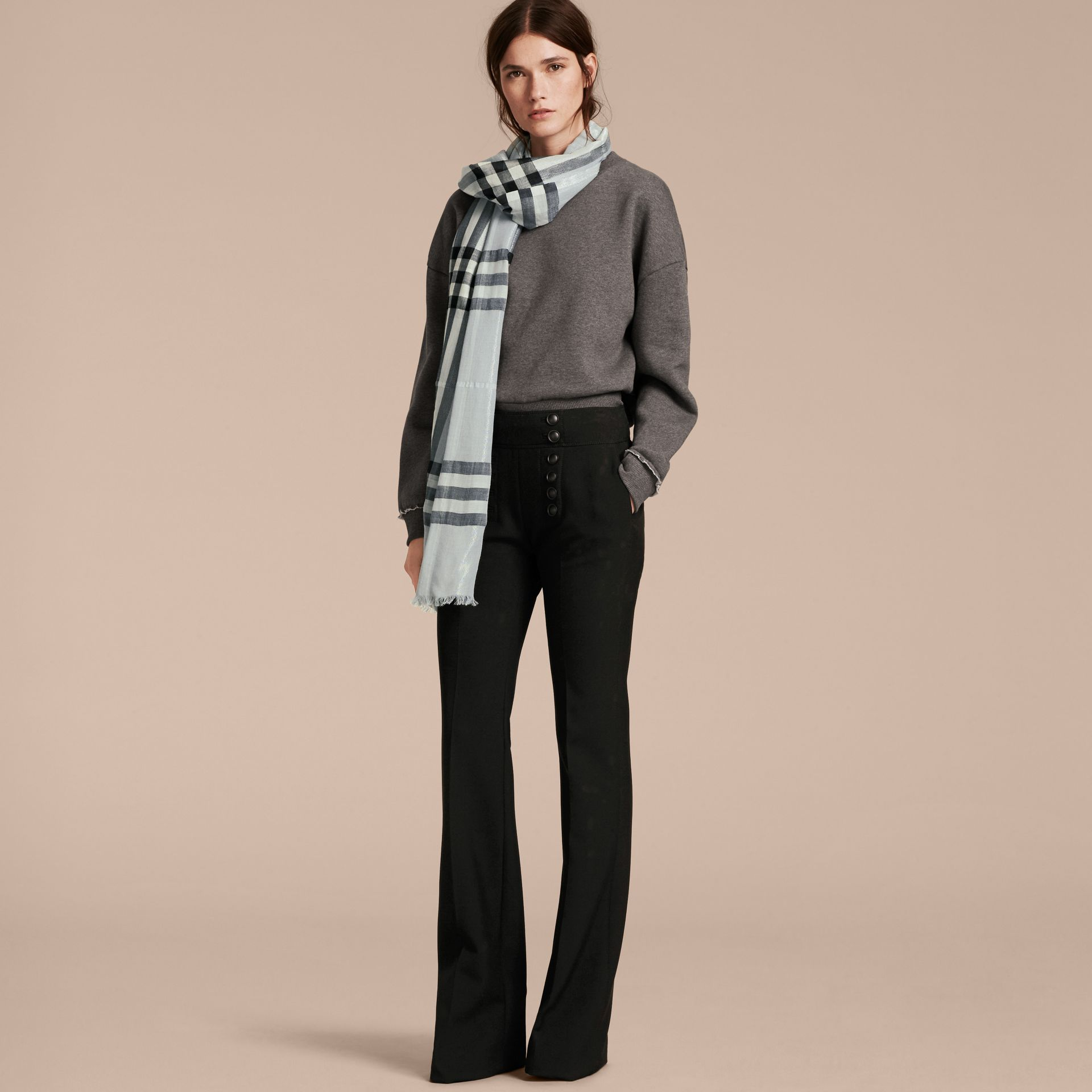 Metallic Check Silk and Wool Scarf in Dusty Blue/silver - Women | Burberry - gallery image 3