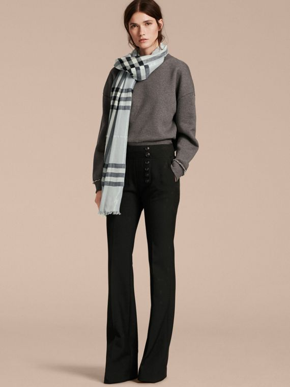 Metallic Check Silk and Wool Scarf in Dusty Blue/silver - Women | Burberry - cell image 2