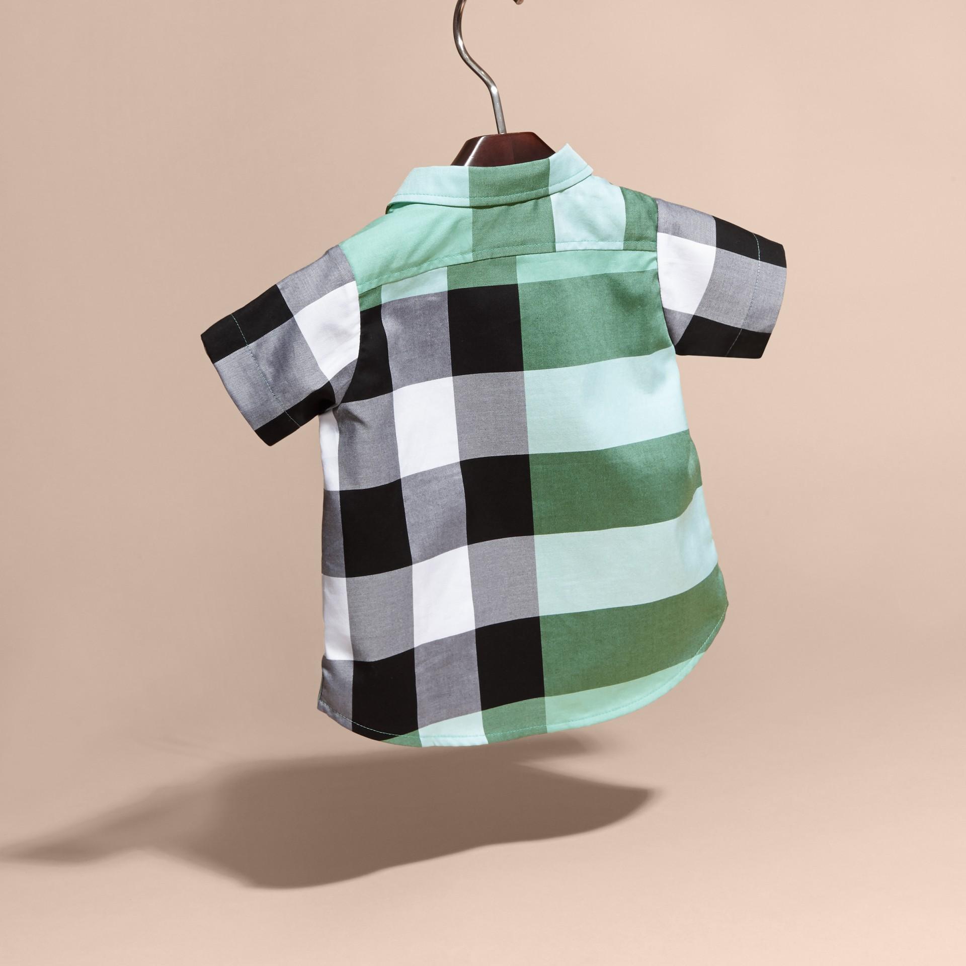Short-sleeved Check Cotton Shirt Eucalyptus - gallery image 4