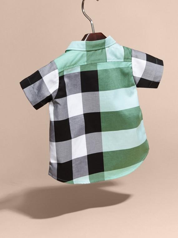 Short-sleeved Check Cotton Shirt Eucalyptus - cell image 3