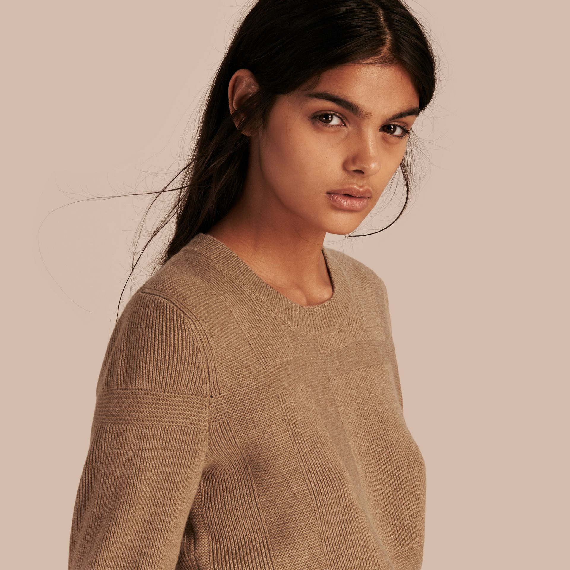 Check-knit Wool Cashmere Sweater in Camel - gallery image 1