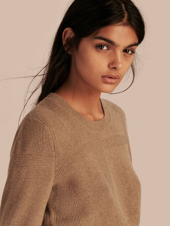 Check-knit Wool Cashmere Sweater Camel