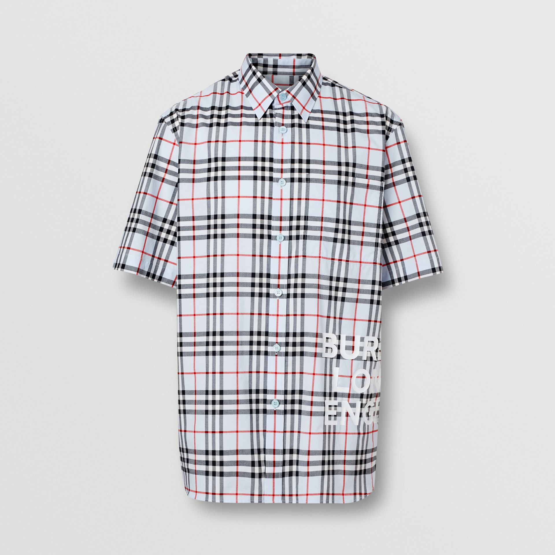 Short-sleeve Vintage Check Cotton Oversized Shirt in Pale Blue - Men | Burberry Hong Kong S.A.R - gallery image 3