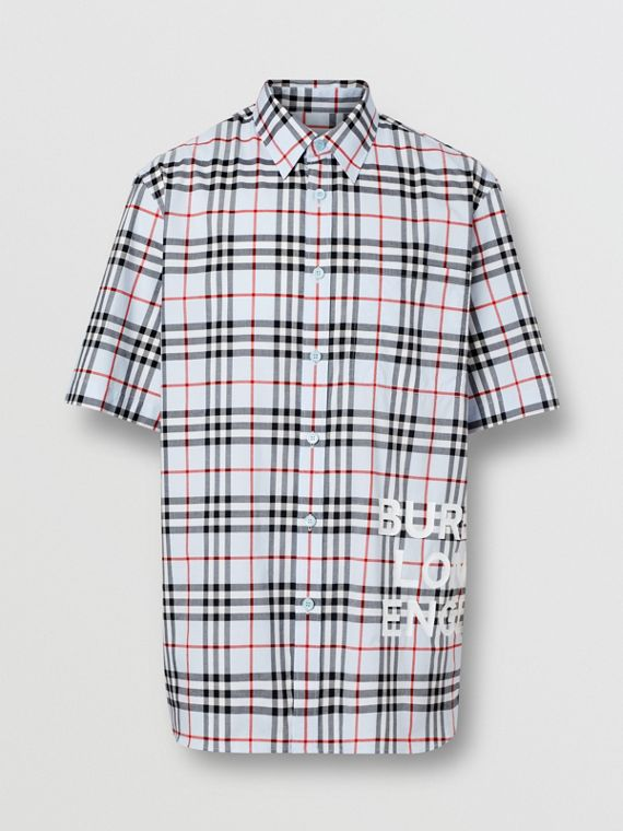 Short-sleeve Vintage Check Cotton Oversized Shirt in Pale Blue