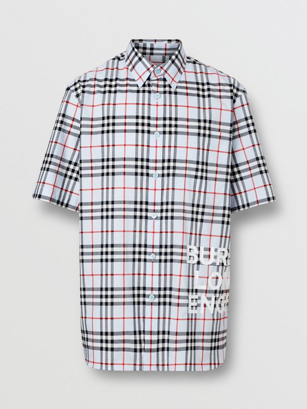 Short-sleeve Vintage Check Cotton Oversized Shirt in Pale Blue - Men | Burberry Hong Kong S.A.R - cell image 3